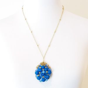 Artisan Jewelry - Vintage 14K GF Artisan Necklace Blue Boho Luxe